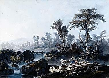 Landscape with Waterfall and Shepherds | Jean Pillement | Oil Painting