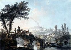 River Landscape with Bridge and Shepherds | Jean Pillement | Oil Painting