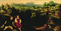 Landscape with Tobias and the Angel | Jan van Scorel | Oil Painting