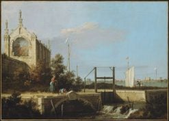 A Sluice on a River with a Chapel | Canaletto | Oil Painting