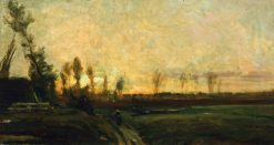 Sunset by a River | Charles Francois Daubigny | Oil Painting