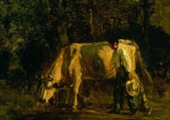 Cows and Cowherd | Constant Troyon | Oil Painting