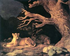 Lion and Lioness Resting at the Mouth of a Dark Cave | George Stubbs | Oil Painting