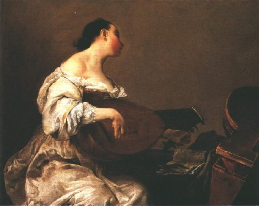 Woman Playing a Lute | Giuseppe Maria Crespi | Oil Painting