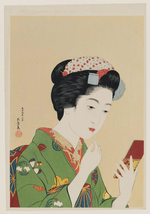 Woman Applying Color to Her Lips(also known as Portrait of Chiyo