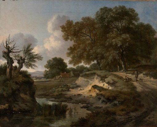 A Wooded Landscape with Travelers and a Dog on a Path | Jan Wijnants | Oil Painting