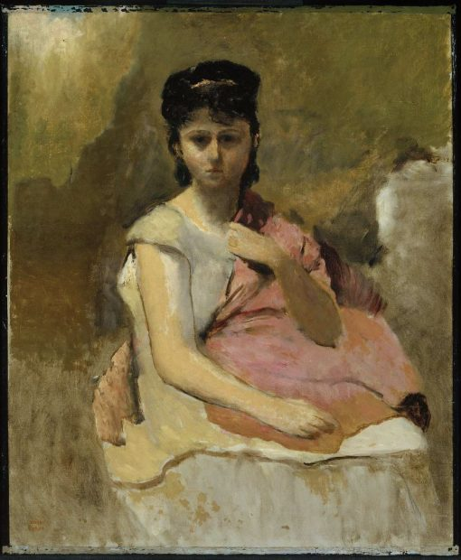 Woman with a Pink Shawl | Jean Baptiste Camille Corot | Oil Painting