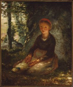 Shepherdess Seated in the Shade | Jean Francois Millet | Oil Painting