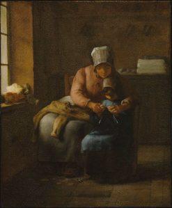 Knitting Lessson   Jean Francois Millet   Oil Painting