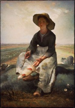 Young Shepherdess | Jean Francois Millet | Oil Painting