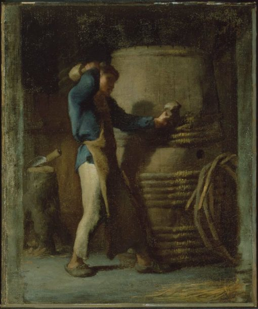 Cooper Tightening Staves on a Barrel | Jean Francois Millet | Oil Painting