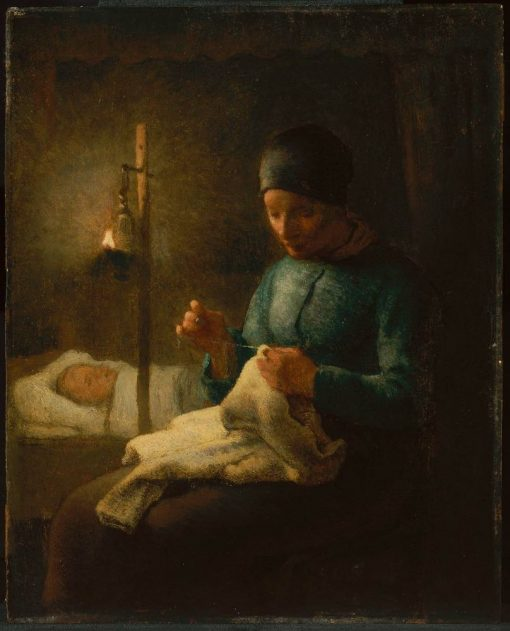Woman Sewing Beside her Sleeping Child   Jean Francois Millet   Oil Painting