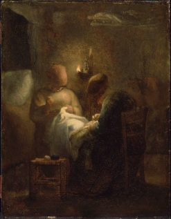Women Sewing by Lamplight(also known as La Veillee) | Jean Francois Millet | Oil Painting
