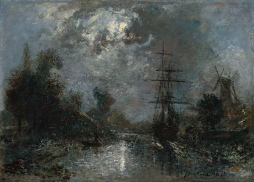 Harbor by Moonlight | Johan Barthold Jongkind | Oil Painting