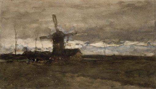 A Windmill in Holland   Johan Hendrik Weissenbruch   Oil Painting