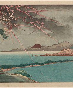 Ama no Hashidate in Rain and Lightning (Hashidate uchû kaminari)   Kuniyoshi Utagawa   Oil Painting