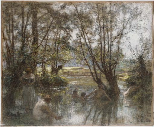 Women and Children Bathing in a River   LEon Augustin Lhermitte   Oil Painting