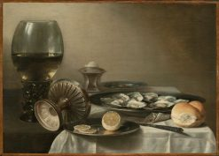 Still Life with Wine Goblet and Oysters   Pieter Claesz   Oil Painting