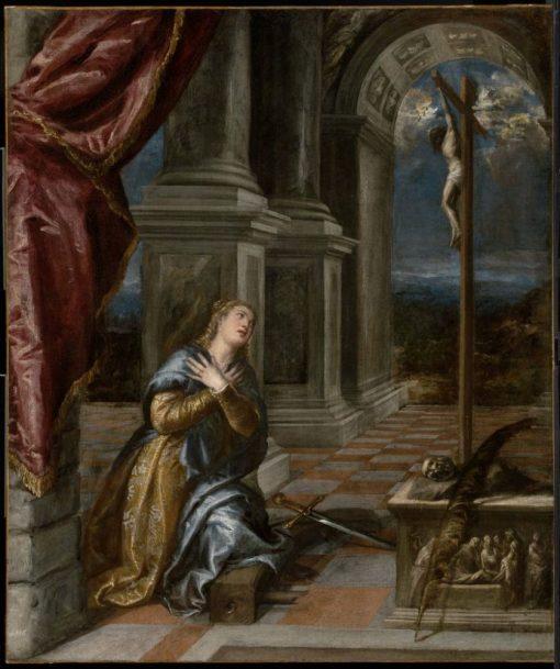 Saint Catherine of Alexandria at Prayer   Titian   Oil Painting