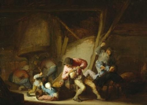 Drinking Figures and Crying Children | Adriaen van Ostade | Oil Painting