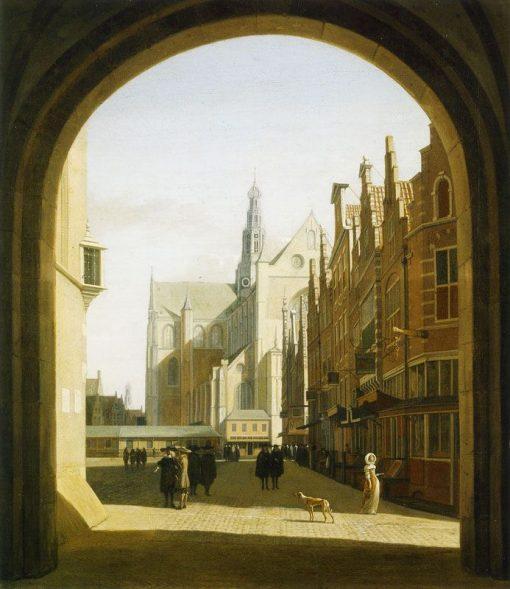 The Grote Markt with the Grote or St. Bavokerk in Haarlem | Gerrit Adriaensz.Berckheyde | Oil Painting