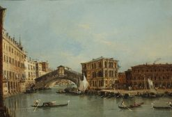 A View on the Grand Canal with the Rialto Bridge   Francesco Guardi   Oil Painting