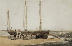 Beached Fishing Boat | Samuel Prout | Oil Painting