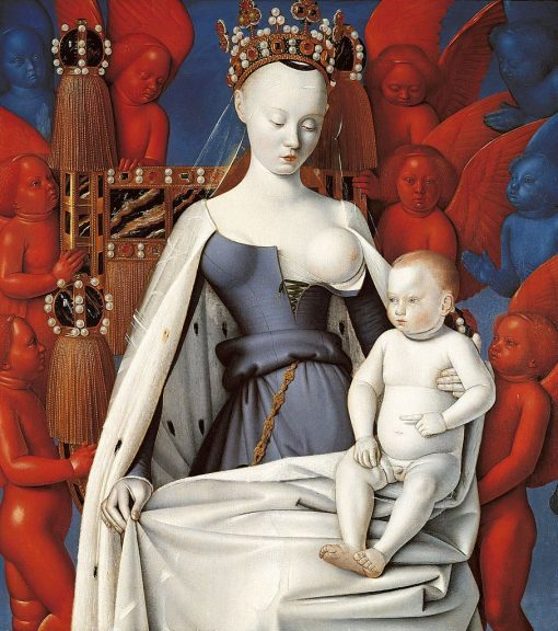 Melun Diptych ~ Madonna Surrounded by Seraphim and Cherubim(also known as 'Madonna Lactans') | Jean Fouquet | Oil Painting