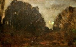Moon Rising in the Forest of Fontainbleau | Charles Francois Daubigny | Oil Painting