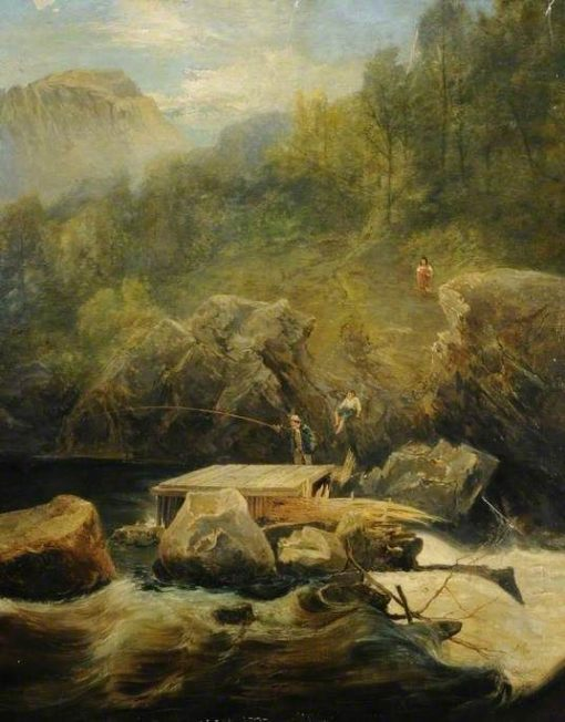 A Highland River Scene with a Salmon Trap | James Holland | Oil Painting