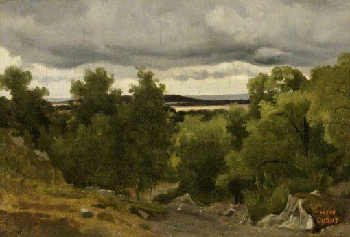 Au Petit Chaville   Jean Baptiste Camille Corot   Oil Painting