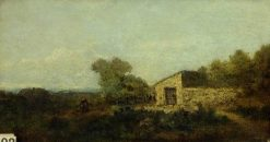 Landscape and Farm Buildings | Jean Baptiste Camille Corot | Oil Painting