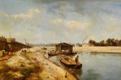River Scene with Barges and Figures | Johan Barthold Jongkind | Oil Painting