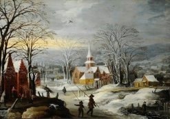 Winter Landscape with Buildings and Figures | Joos de Momper the Younger | Oil Painting
