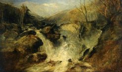 A Mountain Waterfall in Snowdonia | William James Muller | Oil Painting
