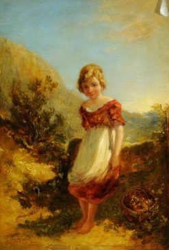 Landscape with a Little Boy and a Basket | William James Muller | Oil Painting