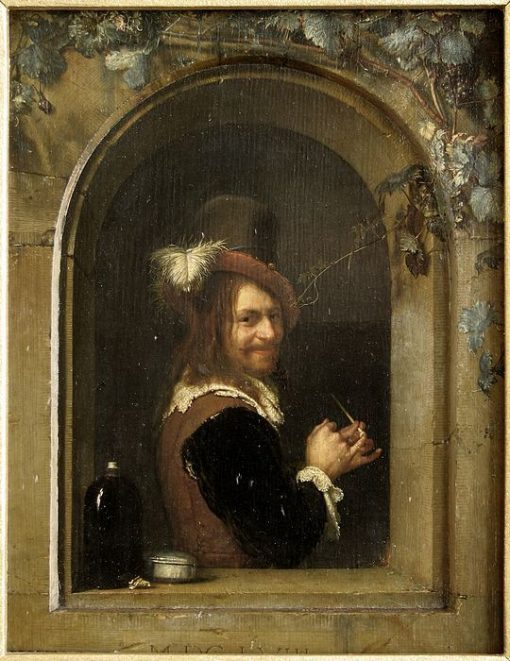 Man with Pipe at the Window | Frans van Mieris the Elder | Oil Painting