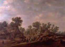 Village View with Farmers | Jan van Goyen | Oil Painting
