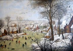 Winter Landscape with Bird Trap | Pieter Brueghel the Younger | Oil Painting