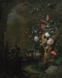 Flowers in a Grotto | Abraham Mignon | Oil Painting