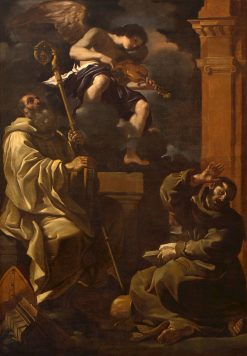 Saint Benedict and Saint Francis Listening to a Musician Angel | Guercino | Oil Painting