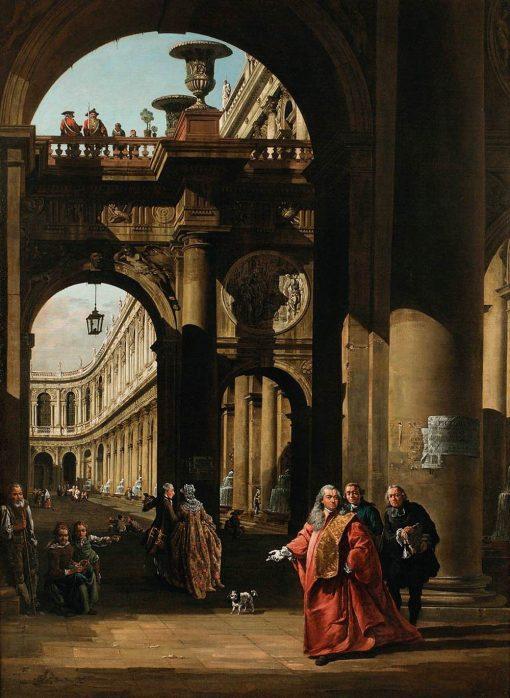 Architectural Capriccio with a Self-Portrait | Bernardo Bellotto | Oil Painting