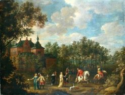 Social Gathering in a Park | Lucas van Uden | Oil Painting
