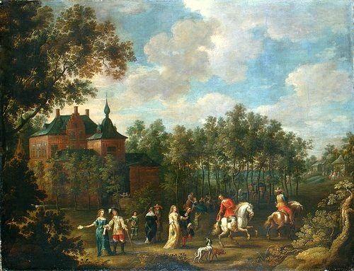 Social Gathering in a Park   Lucas van Uden   Oil Painting