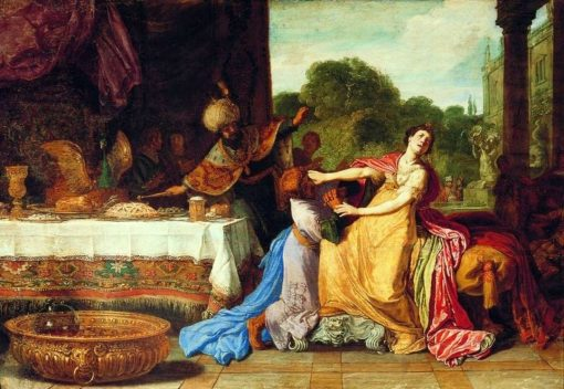 Haman Begging Esther for Mercy | Pieter Lastman | Oil Painting