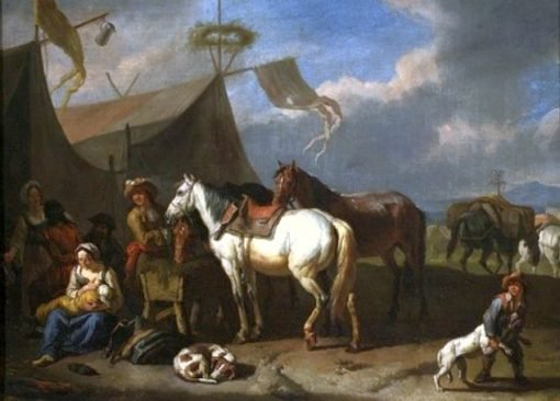 Encampment Scene with Woman Nursing a Baby | Pieter van Bloemen | Oil Painting