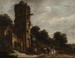 Landscape with Ruin and Figures | Roelof van Vries | Oil Painting