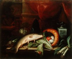 Still Life with Fish and Vegetables | SEbastien Stoskopff | Oil Painting