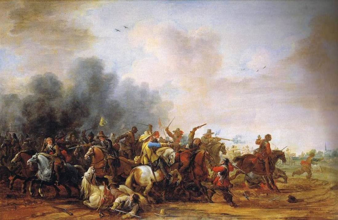 A Cavalry Battle   Pieter Meulener   Oil Painting