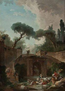 Stairway of Farnese Palace Park   Hubert Robert   Oil Painting